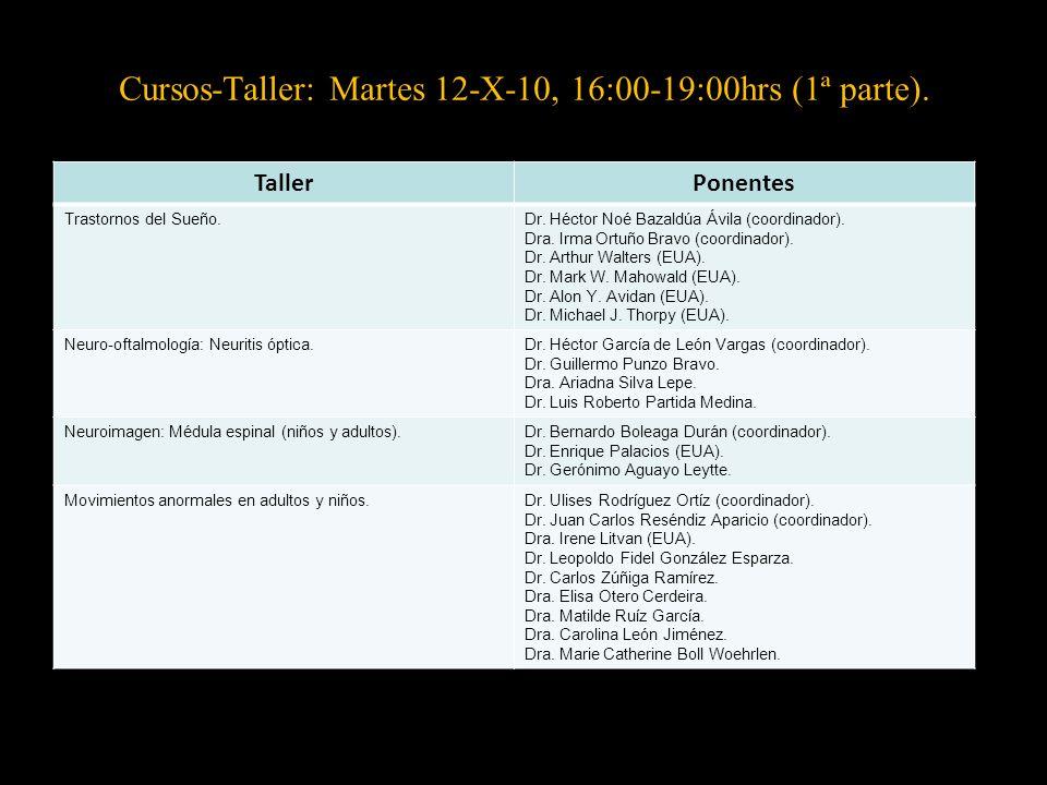 Cursos-Taller: Martes 12-X-10, 16:00-19:00hrs (1ª parte).
