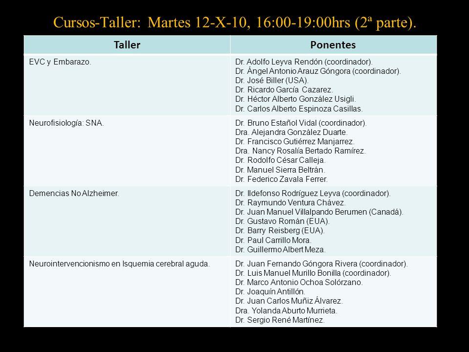 Cursos-Taller: Martes 12-X-10, 16:00-19:00hrs (2ª parte).