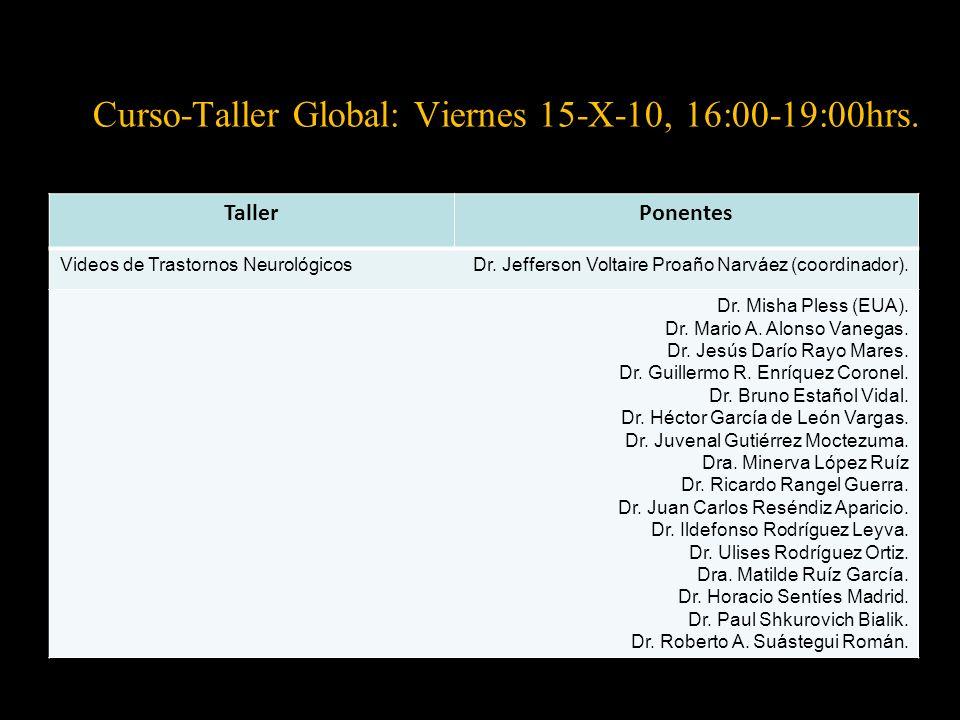 Curso-Taller Global: Viernes 15-X-10, 16:00-19:00hrs.