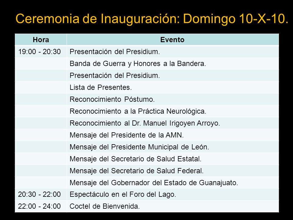 Ceremonia de Inauguración: Domingo 10-X-10.HoraEvento 19:00 - 20:30Presentación del Presidium.