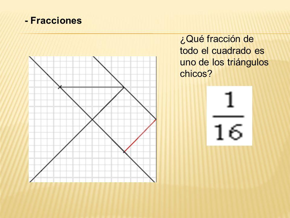 - Fracciones ¿Qué fracción de todo el cuadrado es uno de los triángulos chicos?