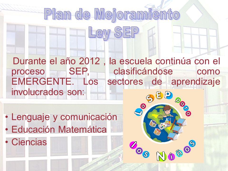 Durante el año 2012, la escuela continúa con el proceso SEP, clasificándose como EMERGENTE.