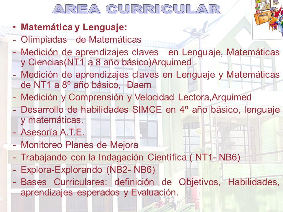 Matemática y Lenguaje: -Olimpiadas de Matemáticas -Medición de aprendizajes claves en Lenguaje, Matemáticas y Ciencias(NT1 a 8 año básico)Arquimed -Medición de aprendizajes claves en Lenguaje y Matemáticas de NT1 a 8º año básico, Daem -Medición y Comprensión y Velocidad Lectora,Arquimed -Desarrollo de habilidades SIMCE en 4º año básico, lenguaje y matemáticas.