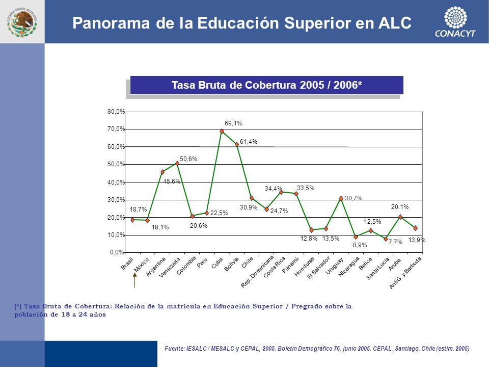 (*) Tasa Bruta de Cobertura: Relación de la matrícula en Educación Superior / Pregrado sobre la población de 18 a 24 años Tasa Bruta de Cobertura 2005