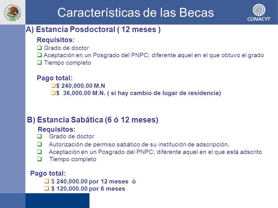 A) Estancia Posdoctoral ( 12 meses ) Pago total: $ 240,000.00 por 12 meses ó $ 120,000.00 por 6 meses Características de las Becas Requisitos: Grado d