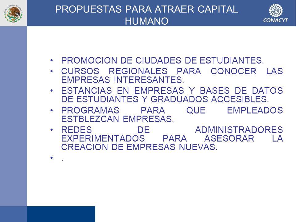 PROPUESTAS PARA ATRAER CAPITAL HUMANO PROMOCION DE CIUDADES DE ESTUDIANTES. CURSOS REGIONALES PARA CONOCER LAS EMPRESAS INTERESANTES. ESTANCIAS EN EMP
