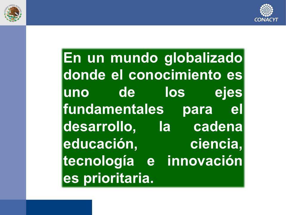En un mundo globalizado donde el conocimiento es uno de los ejes fundamentales para el desarrollo, la cadena educación, ciencia, tecnología e innovaci