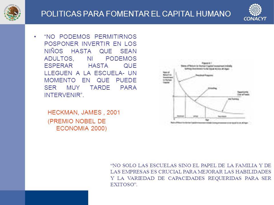 POLITICAS PARA FOMENTAR EL CAPITAL HUMANO NO PODEMOS PERMITIRNOS POSPONER INVERTIR EN LOS NIÑOS HASTA QUE SEAN ADULTOS, NI PODEMOS ESPERAR HASTA QUE L
