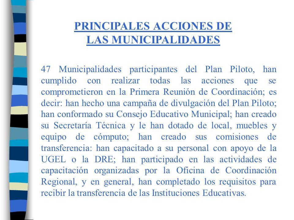 Esas Municipalidades son las siguientes: MunicipalidadRegión 1.