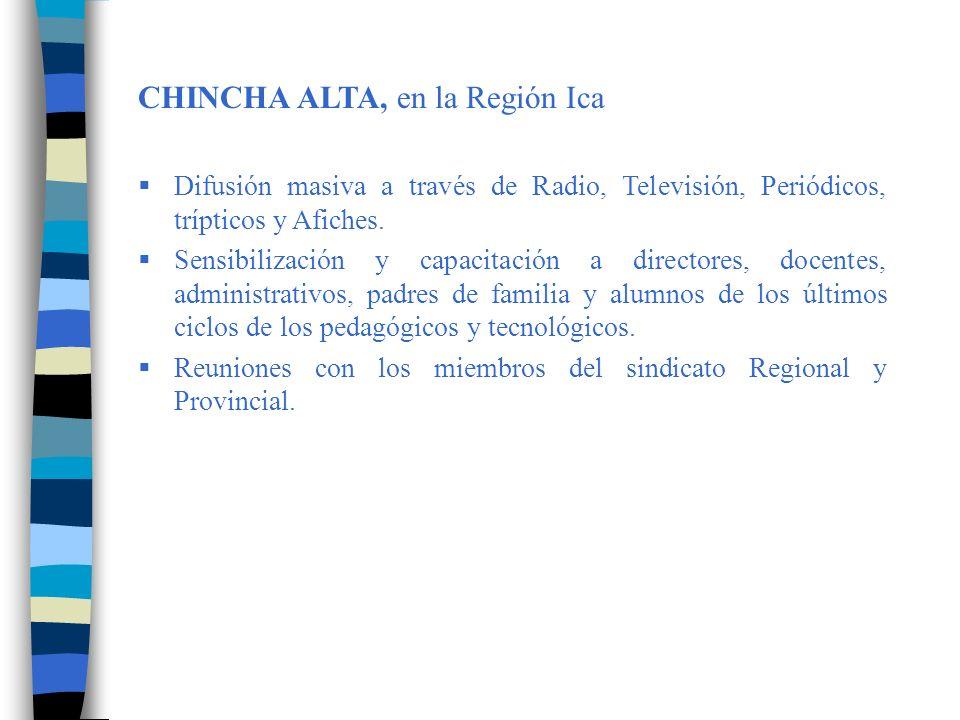 CHINCHA BAJA, en la Región Ica Visitas de supervisión a todas las instituciones educativas del Plan Piloto.