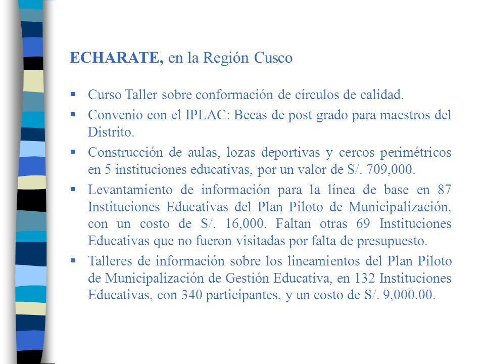 Conformación de 4 círculos de calidad educativa, con participación de 300 personas de 132 II.EE y un costo de S/.