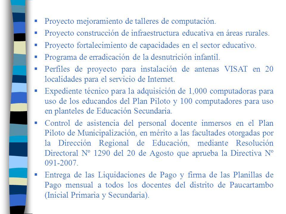 Contar con un Formulador de Proyectos Educativos, de cuyo resultado se ha presentado a la OCR cinco perfiles debidamente sustentados, de acuerdo a la orientación de FONCOMUGE.