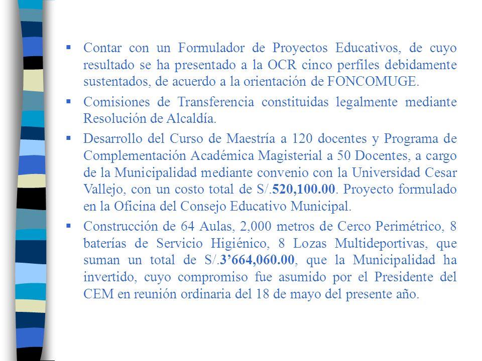 Realización del I CONGRESO REGIONAL DE MUNICIPIOS ESCOLARES, donde la municipalidad auspició con la suma de S/.