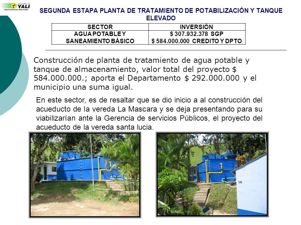 SEGUNDA ESTAPA PLANTA DE TRATAMIENTO DE POTABILIZACIÓN Y TANQUE ELEVADO SECTORINVERSIÓN AGUA POTABLE Y SANEAMIENTO BÁSICO $ 307.932.378 SGP $ 584.000.