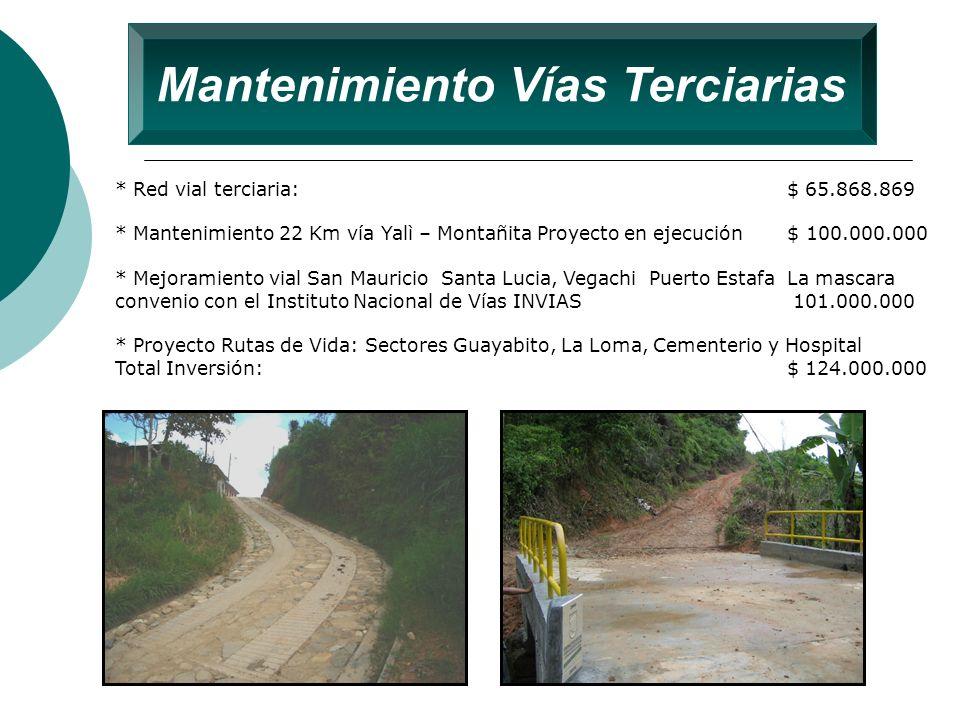 Mantenimiento Vías Terciarias * Red vial terciaria: $ 65.868.869 * Mantenimiento 22 Km vía Yalì – Montañita Proyecto en ejecución $ 100.000.000 * Mejo