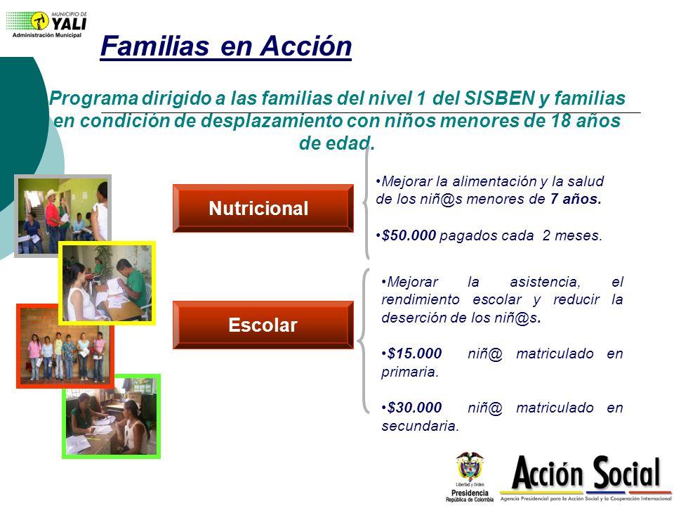 Familias en Acción Programa dirigido a las familias del nivel 1 del SISBEN y familias en condición de desplazamiento con niños menores de 18 años de e