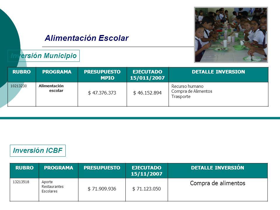 Alimentación Escolar RUBROPROGRAMAPRESUPUESTO MPIO EJECUTADO 15/011/2007 DETALLE INVERSION 10213230Alimentación escolar $ 47.376.373$ 46.152.894 Recur
