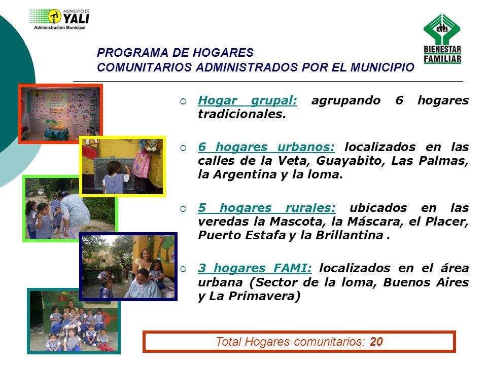 PROGRAMA DE HOGARES COMUNITARIOS ADMINISTRADOS POR EL MUNICIPIO Hogar grupal: agrupando 6 hogares tradicionales. 6 hogares urbanos: localizados en las
