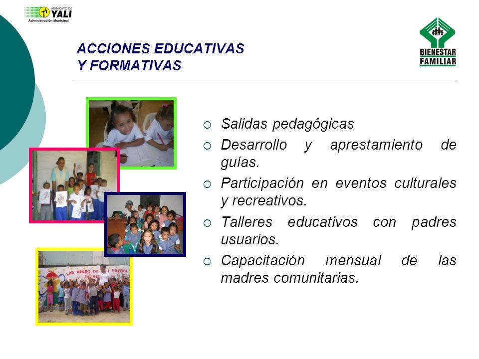 ACCIONES EDUCATIVAS Y FORMATIVAS Salidas pedagógicas Desarrollo y aprestamiento de guías. Participación en eventos culturales y recreativos. Talleres