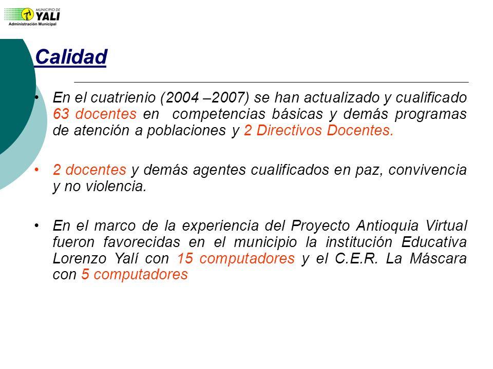 Calidad En el cuatrienio (2004 –2007) se han actualizado y cualificado 63 docentes en competencias básicas y demás programas de atención a poblaciones