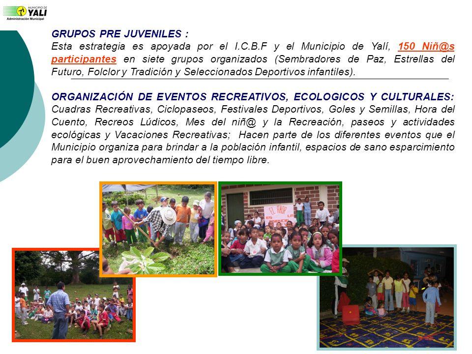 GRUPOS PRE JUVENILES : Esta estrategia es apoyada por el I.C.B.F y el Municipio de Yalí, 150 Niñ@s participantes en siete grupos organizados (Sembrado