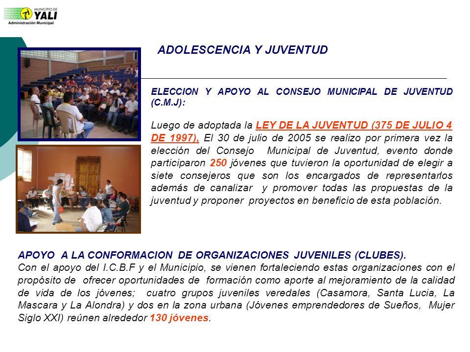 ELECCION Y APOYO AL CONSEJO MUNICIPAL DE JUVENTUD (C.M.J): Luego de adoptada la LEY DE LA JUVENTUD (375 DE JULIO 4 DE 1997), El 30 de julio de 2005 se