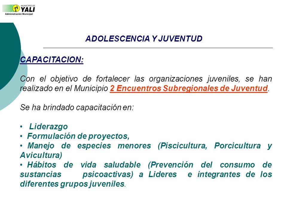 CAPACITACION: Con el objetivo de fortalecer las organizaciones juveniles, se han realizado en el Municipio 2 Encuentros Subregionales de Juventud. Se