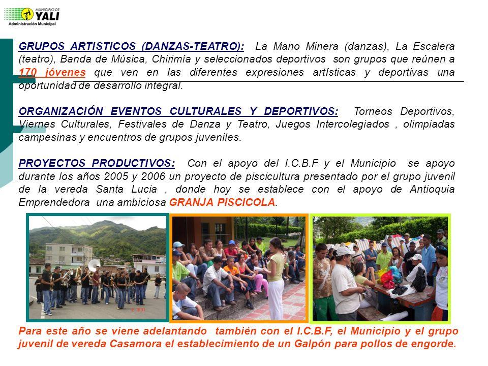 GRUPOS ARTISTICOS (DANZAS-TEATRO): La Mano Minera (danzas), La Escalera (teatro), Banda de Música, Chirimía y seleccionados deportivos son grupos que