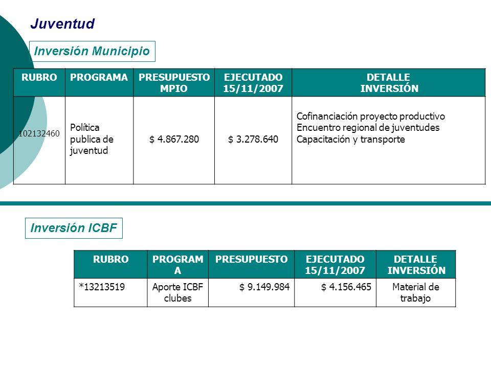 Inversión Municipio Juventud RUBROPROGRAMAPRESUPUESTO MPIO EJECUTADO 15/11/2007 DETALLE INVERSIÓN 102132460 Política publica de juventud $ 4.867.280$