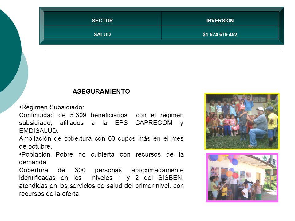 ASEGURAMIENTO Régimen Subsidiado: Continuidad de 5.309 beneficiarios con el régimen subsidiado, afiliados a la EPS CAPRECOM y EMDISALUD. Ampliación de
