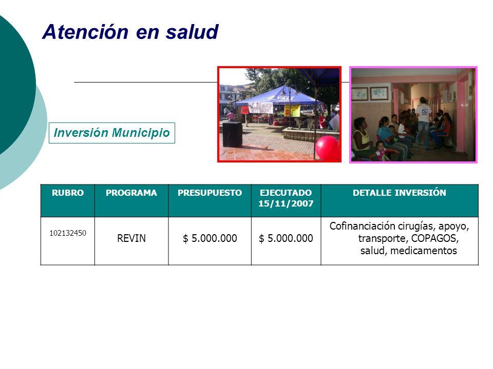 RUBROPROGRAMAPRESUPUESTOEJECUTADO 15/11/2007 DETALLE INVERSIÓN 102132450 REVIN$ 5.000.000 Cofinanciación cirugías, apoyo, transporte, COPAGOS, salud,