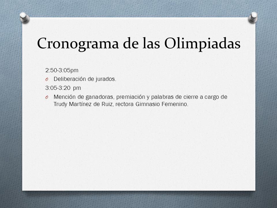2:50-3:05pm O Deliberación de jurados. 3:05-3:20 pm O Mención de ganadoras, premiación y palabras de cierre a cargo de Trudy Martínez de Ruiz, rectora