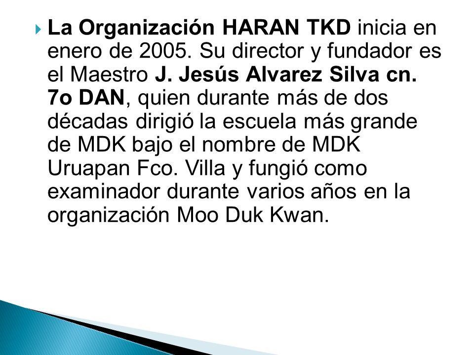 La Organización HARAN TKD inicia en enero de 2005. Su director y fundador es el Maestro J. Jesús Alvarez Silva cn. 7o DAN, quien durante más de dos dé