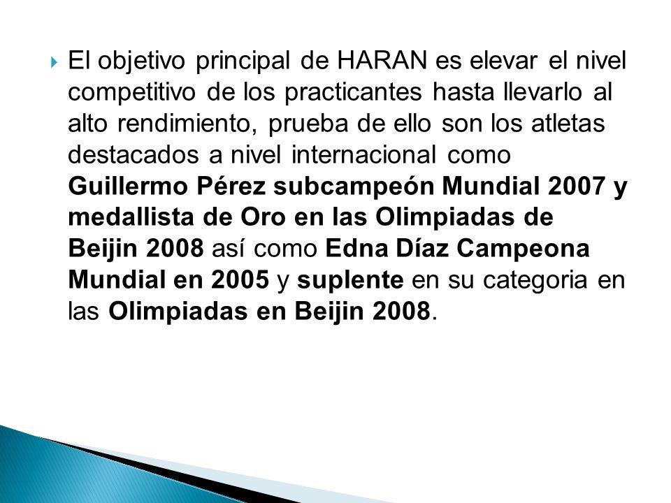 El objetivo principal de HARAN es elevar el nivel competitivo de los practicantes hasta llevarlo al alto rendimiento, prueba de ello son los atletas d