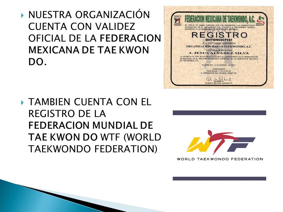NUESTRA ORGANIZACIÓN CUENTA CON VALIDEZ OFICIAL DE LA FEDERACION MEXICANA DE TAE KWON DO. TAMBIEN CUENTA CON EL REGISTRO DE LA FEDERACION MUNDIAL DE T