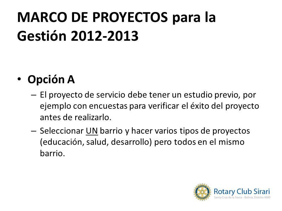 MARCO DE PROYECTOS para la Gestión 2012-2013 Opción A – El proyecto de servicio debe tener un estudio previo, por ejemplo con encuestas para verificar
