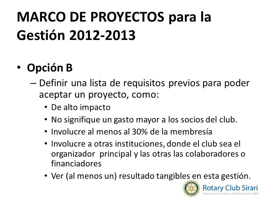 MARCO DE PROYECTOS para la Gestión 2012-2013 Opción B – Definir una lista de requisitos previos para poder aceptar un proyecto, como: De alto impacto