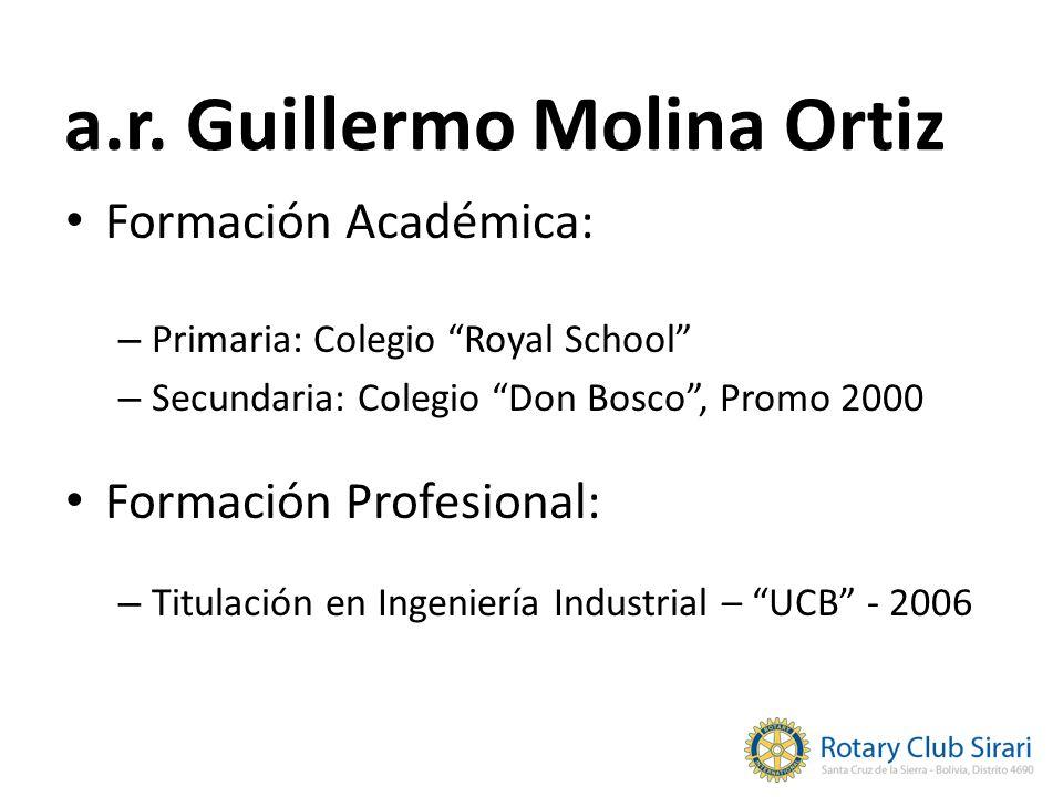 a.r. Guillermo Molina Ortiz Formación Académica: – Primaria: Colegio Royal School – Secundaria: Colegio Don Bosco, Promo 2000 Formación Profesional: –