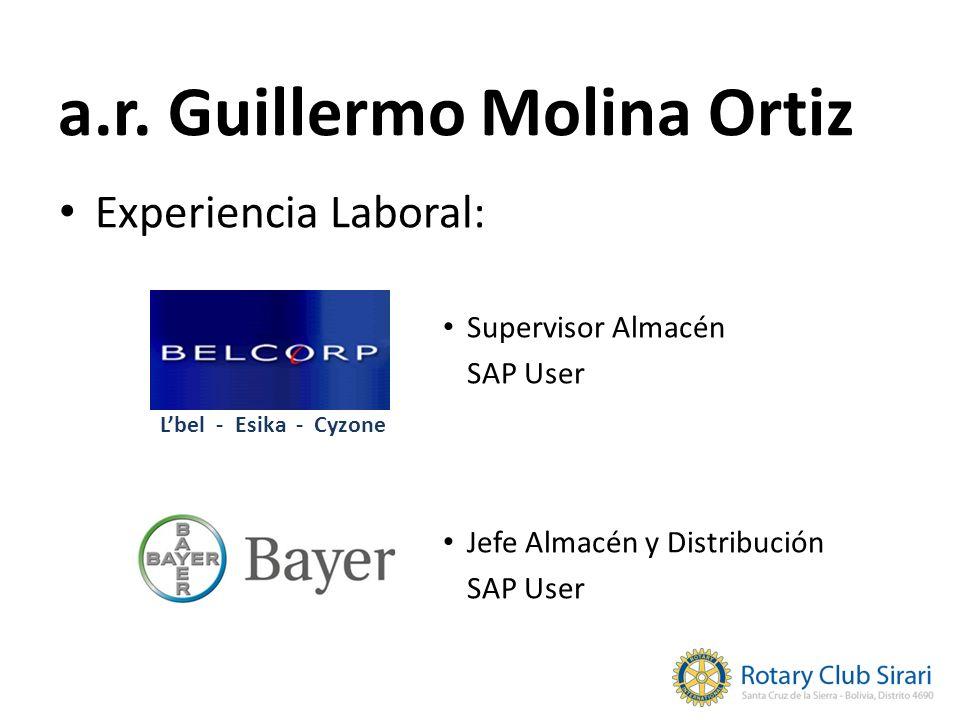 a.r. Guillermo Molina Ortiz Experiencia Laboral: Supervisor Almacén SAP User Jefe Almacén y Distribución SAP User Lbel - Esika - Cyzone