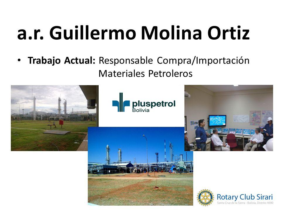 Trabajo Actual: Responsable Compra/Importación Materiales Petroleros a.r. Guillermo Molina Ortiz