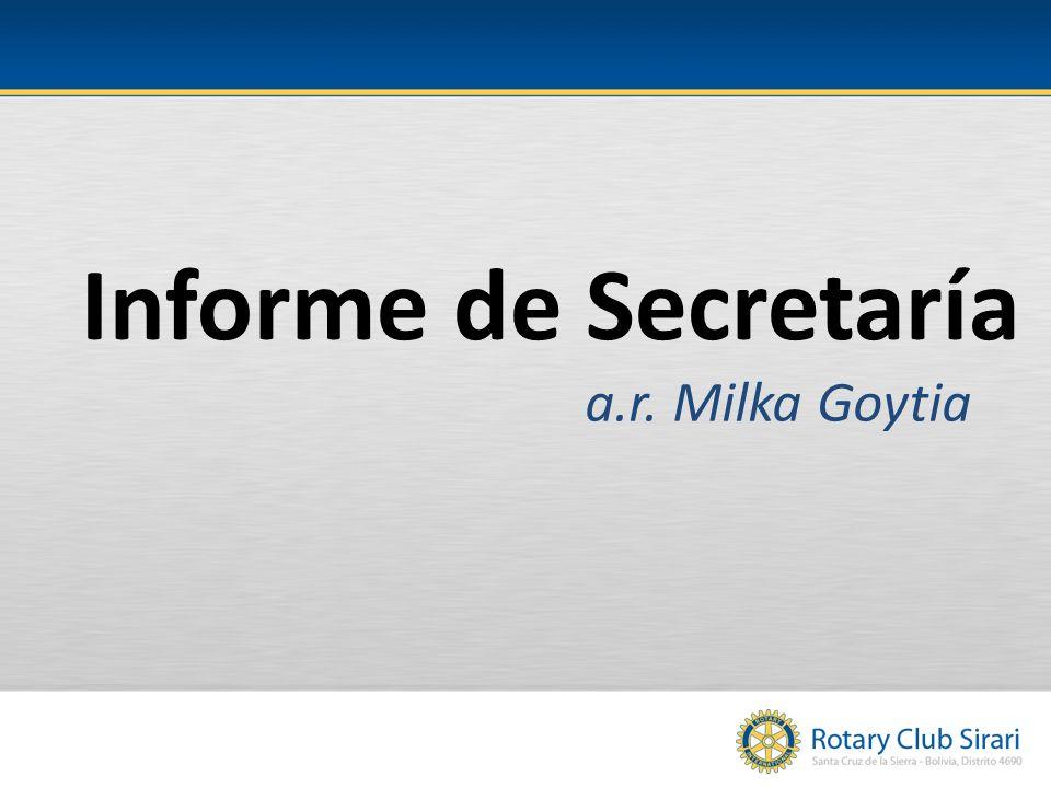 Informe de Secretaría a.r. Milka Goytia