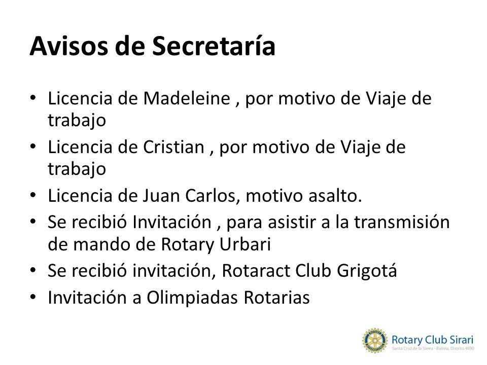 Avisos de Secretaría Licencia de Madeleine, por motivo de Viaje de trabajo Licencia de Cristian, por motivo de Viaje de trabajo Licencia de Juan Carlo