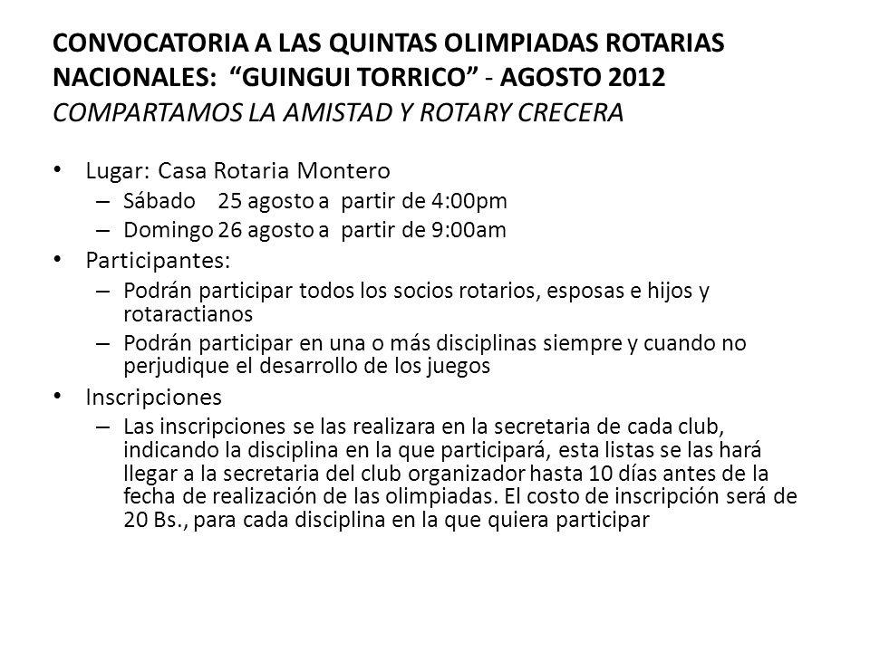 CONVOCATORIA A LAS QUINTAS OLIMPIADAS ROTARIAS NACIONALES: GUINGUI TORRICO - AGOSTO 2012 COMPARTAMOS LA AMISTAD Y ROTARY CRECERA Lugar: Casa Rotaria M