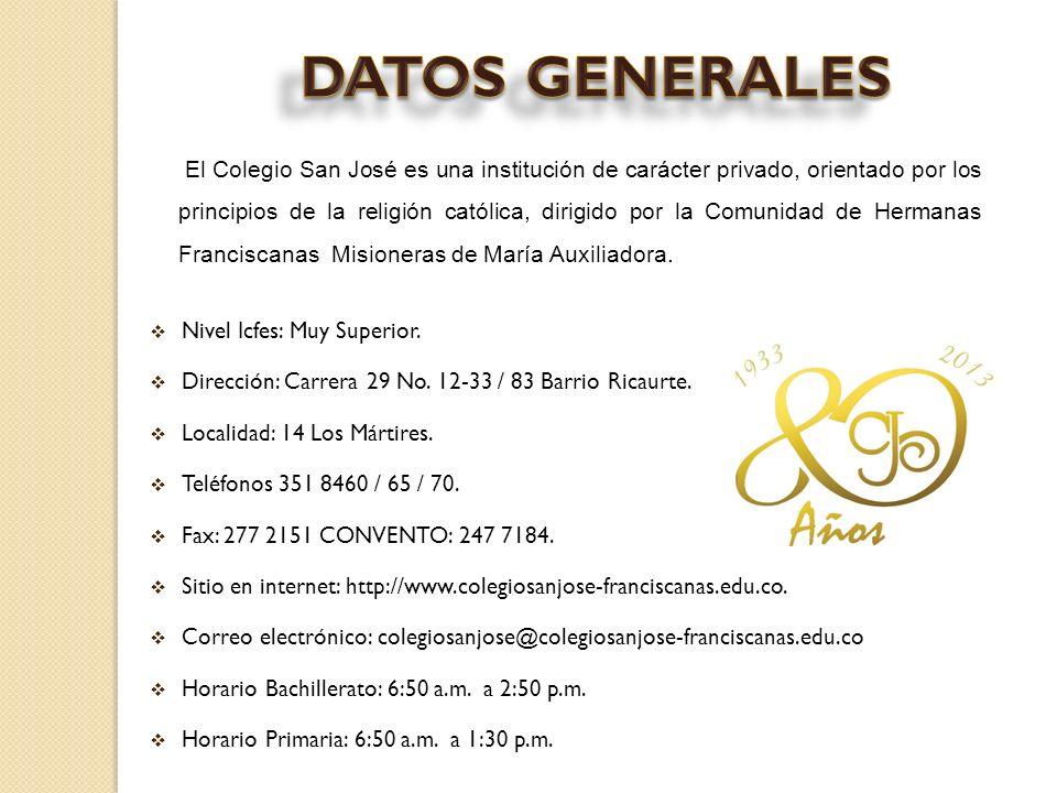 Nivel Icfes: Muy Superior. Dirección: Carrera 29 No. 12-33 / 83 Barrio Ricaurte. Localidad: 14 Los Mártires. Teléfonos 351 8460 / 65 / 70. Fax: 277 21