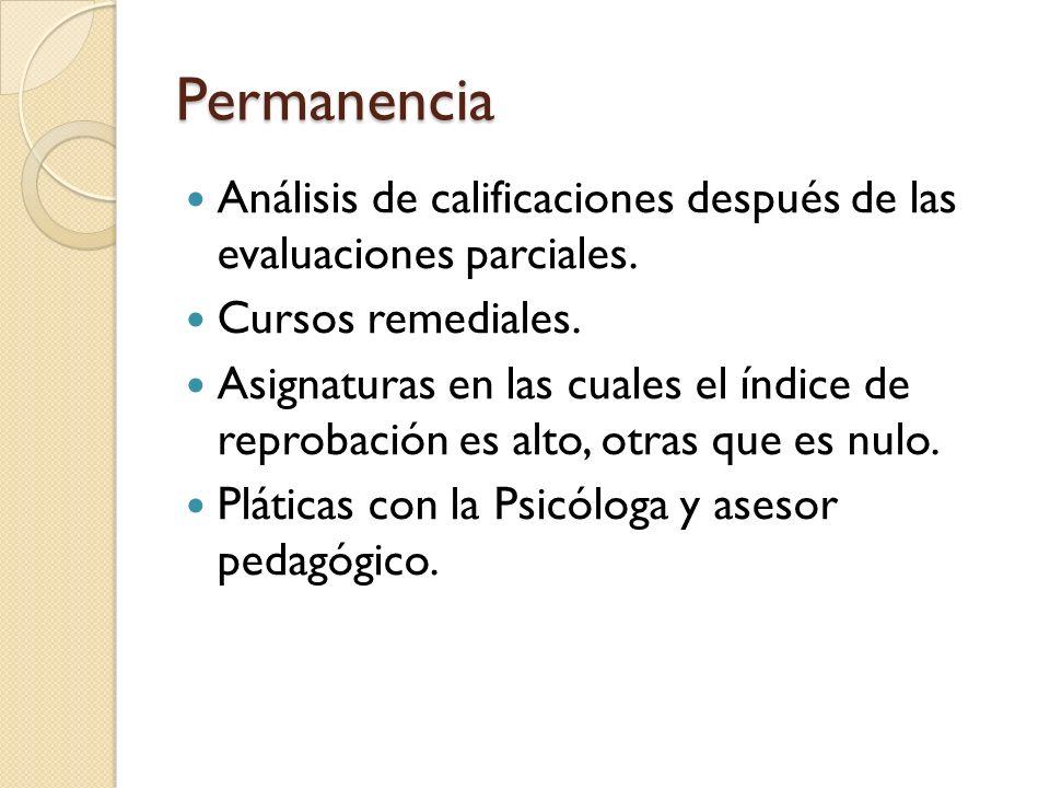 Permanencia Análisis de calificaciones después de las evaluaciones parciales.