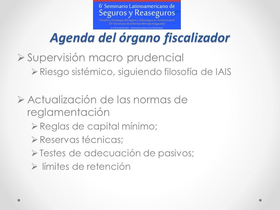 Agenda del órgano fiscalizador Supervisión macro prudencial Riesgo sistémico, siguiendo filosofía de IAIS Actualización de las normas de reglamentació
