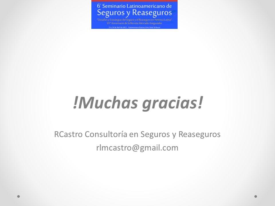 !Muchas gracias! RCastro Consultoría en Seguros y Reaseguros rlmcastro@gmail.com