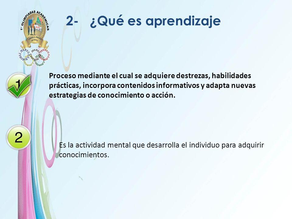 2- ¿Qué es aprendizaje Proceso mediante el cual se adquiere destrezas, habilidades prácticas, incorpora contenidos informativos y adapta nuevas estrat