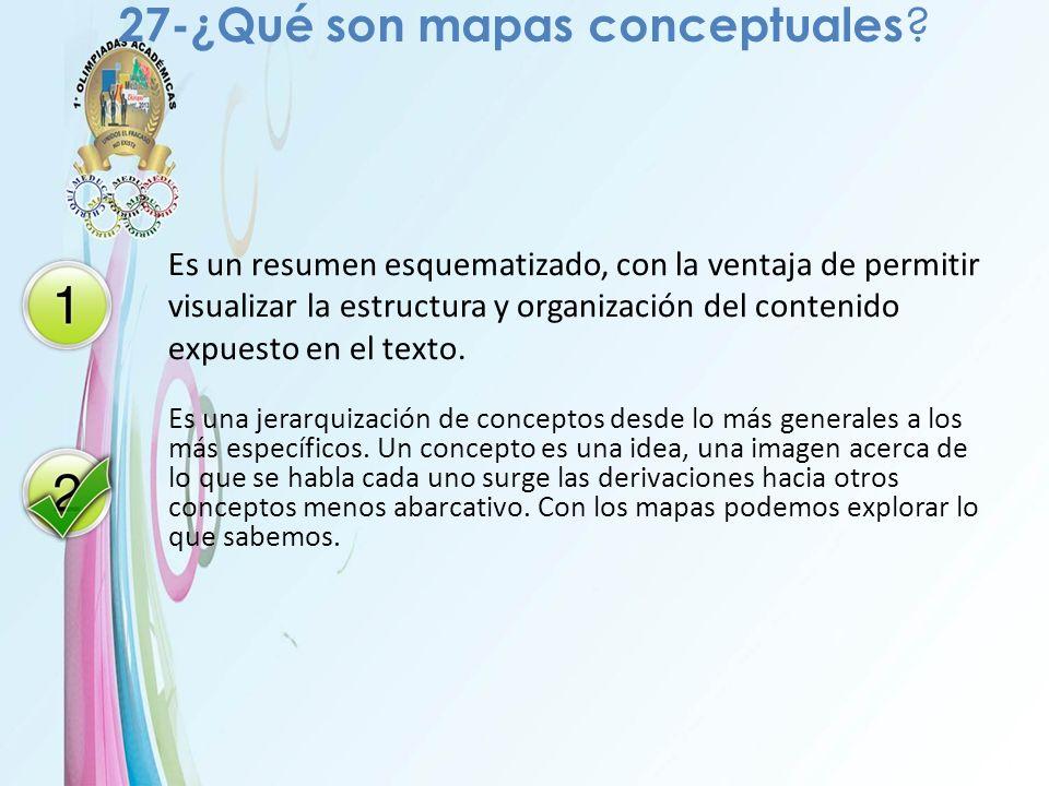27-¿Qué son mapas conceptuales ? Es un resumen esquematizado, con la ventaja de permitir visualizar la estructura y organización del contenido expuest