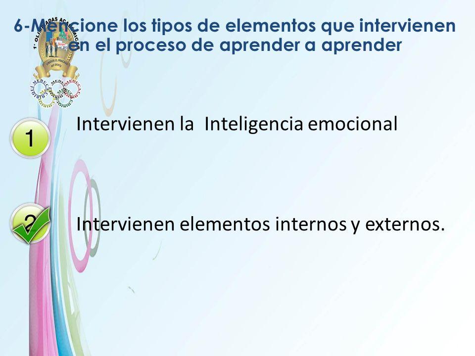 6-Mencione los tipos de elementos que intervienen en el proceso de aprender a aprender Intervienen la Inteligencia emocional Intervienen elementos int